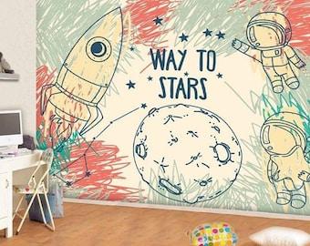 Cosmos And A Rocket Wall Mural Way To Stars Wallpaper Kids Drawing Decor