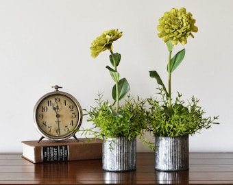 Zinnias in Rustic Pots; Rustic Centerpiece;  Spring Table Decor; Galvanized Pot, Farmhouse Centerpiece; Cheerful Flowers