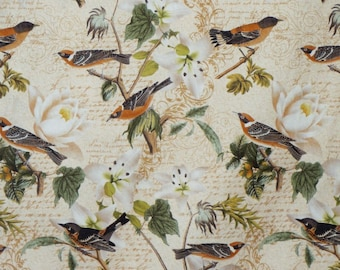SPECIAL--Natural Bird Collage Print Pure Cotton Fabric--By the Yard