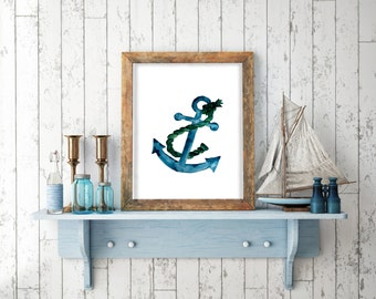 Anchor painting, watercolor nautical art, nautical home decal