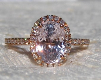 GIA Certified Peach Sapphire Rose Gold Diamond Halo Engagement Ring, Rose Gold Engagement Ring, Oval Pink Sapphire Ring