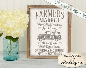 Farmers Market SVG - kitchen svg - farmhouse svg - old truck with chickens svg - fresh produce svg - Commercial Use  svg, dxf, png, jpg