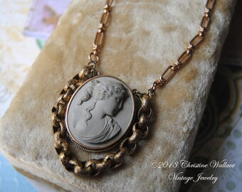 ADELAIDE--Antique Lava Cameo Antique Watch Rollo Chain Victorian Earring Bird NECKLACE
