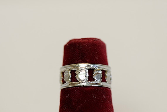 Vintage Sterling Silver 925 Openwork Double Heart Band Ring.. Size 6.25  (# 15)
