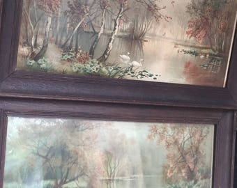 Vintage/Antique Pair Victorian Signed Edward Du Val Swans on a Lake/Swans in the Lakeside Original Watercolour Paintings c.1880-1900