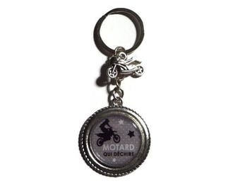 "Keyring gift BIKER ""Motorcycle tearing"" man keychain"
