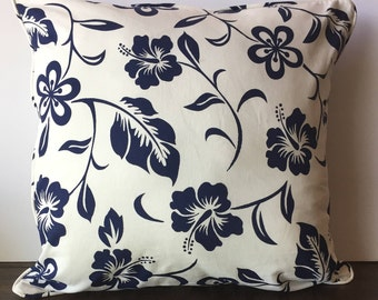 Double sided White Navy blue Floral Pillow cover 20x20