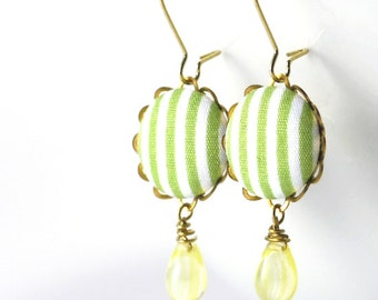 Dangle Earrings - Spring Stripes - Green and White Fabric Covered Buttons Earrings, Yellow Czech Glass Beads, Romantic Wedding Bride Jewelry