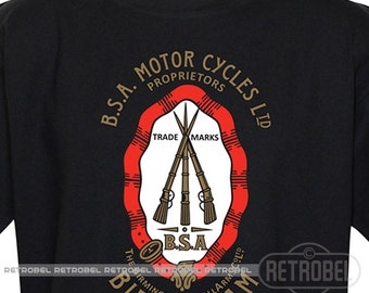 BSA motorcycles T-shirt, Classic Retro Motorcycle Tshirt, Vintage mens tee, 100% Cotton, Graphic Tee,