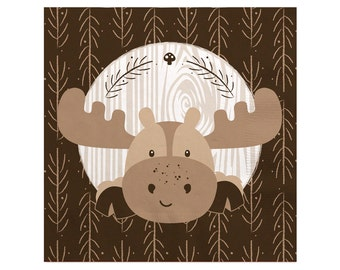 Woodland Beverage Napkin - Woodland Creatures Baby Shower or Birthday Party Supplies - Woodland Animals Napkin - Moose - 16 Count