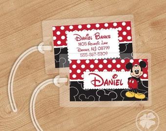 Mickey - Luggage Tag, Bag Tag, Backpack Tag, ID Tags, Personalized, Custom