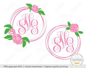 Flower Monogram Frame SVG Circle Rose Monogram SVG Floral Wreath Baby Girl Frame svg Cut Files Cricut Silhouette DXF Cut File digital
