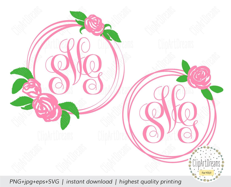 Flower Monogram Frame SVG Circle Rose Monogram SVG Floral Wreath ...