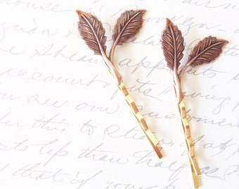 Copper Leaf Branch Bobby Pin Set - Woodland Collection - Whimsical - Nature - Bridal