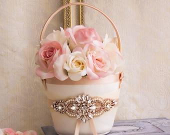 Rose Gold Flower Girl Basket, Rhinestone Flower Girl Basket, Blush Flower Girl Baskets, White or Ivory Flower Basket, Wedding Basket