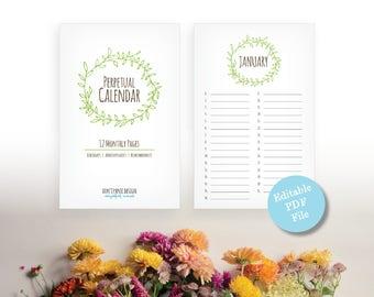 Printable Perpetual Calendar - Editable Pdf Calendar - Eternal Birthday, Anniversary Calendar - Eternal Planner - Instant Download PDF