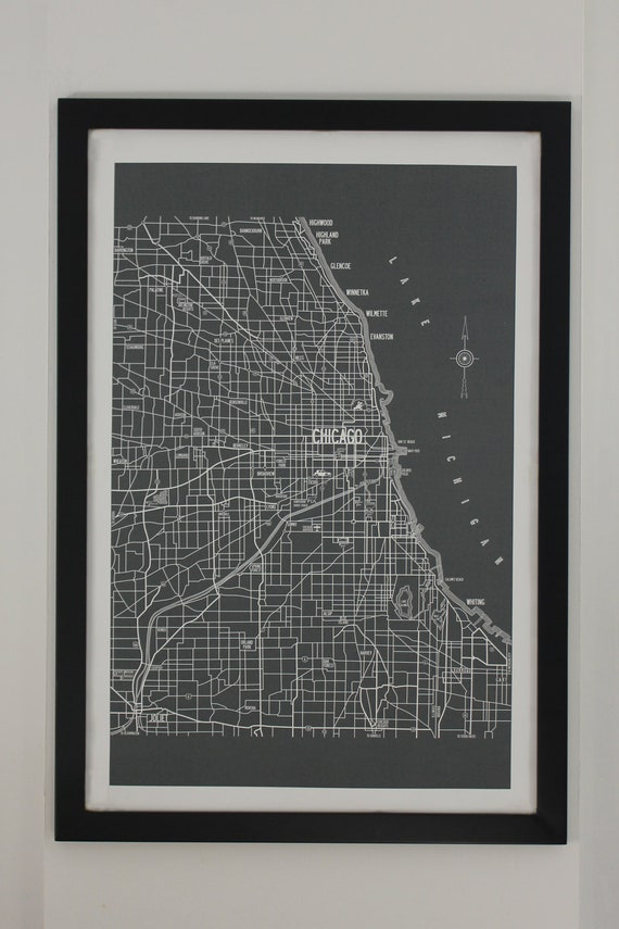 Chicago vintage style map large canvas poster 24x36 unframed