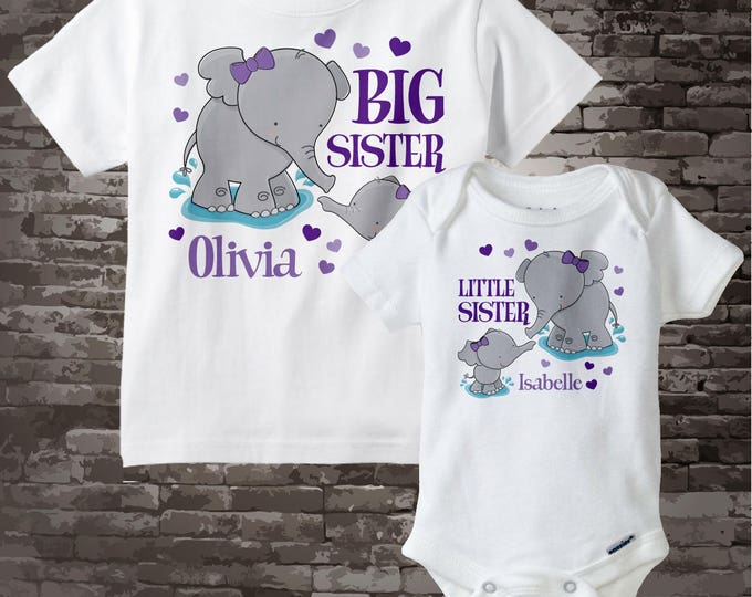 Set of Two Personalized Elephant Big Sister and Little Sister Shirt or Onesie Pregnancy Announcement 04012014a