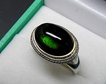 AAAA Natural Green Tourmaline Cabochon Untreated   14x10mm  6.85 Carats   in 18K Yellow gold and Sterling silver ring.  0825