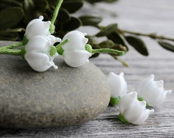 Lampwork beads Lily of the valley Flower 1 Pcs, Lampwork Glass Beads SRA, Glass Flower Beads, Lily of the valley Flower