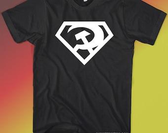 Super Comrade Soviet Russian White on Black T-shirt Small - XL