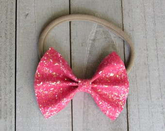 RESTOCK flourescent pink glitter bow