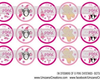 """15 I'm Dreaming of a Pink Christmas Digital Download for 1"""" Bottle Caps (4x6)"""