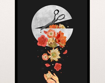 18x24 Moon Spill with Flowers Collage - Printable Art