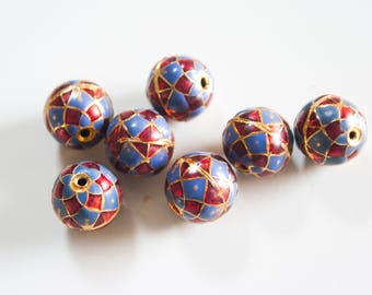 SALE Blue and Red Geometric Floral spheres  - Floral Cloisonné Meena beads (2) 10mm