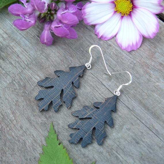 Oak leaf earrings, Silver leaf Earrings, Dangle drop leaf earrings, Sterling Silver leaf earrings, Nature lover gift, Boho wedding wear