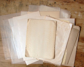 vintage blank paper pack - 8x10 A4 size antique book pages and scrap paper ephemera - scrapbook supply