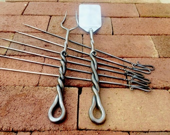 The Grill Master Set - BBQ Fork, Spatula and 6 Shish Kabob - Kebab Skewers - Hand Forged, Iron Grill Tools, Grill Utensils, Grilling Gifts