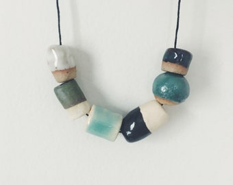 Handmade ceramic bead necklace, hand formed organic clay beads, blue and green beads, long necklace