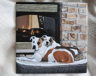Pet Portrait 6 x 6 inch Ceramic Tiles Hand Painted and Made to Order Pitbulls By The Fire by Shannon Ivins