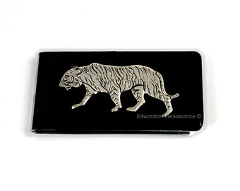 Money Clip Antique Silver Tiger Safari Neo Victorian Inlaid in Glossy Black Enamel Custom Colors and Personalized Option