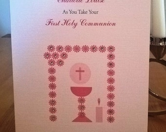 Handmade Personalised A5 Holy Communion Card With Envelope