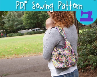 PDF SEWING PATTERN - Sling It Mama Reversible Take Along Purse - sling purse, shoulder bag, hip bag, handbag, travel purse, small purse