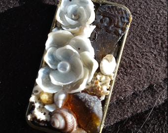 Sailors Valentine inspired Rectangle PENDANT Shellflower Garden Design (Dark Sea Glass & Pearl)