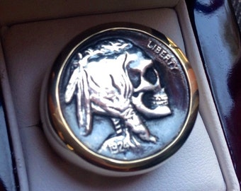 High Polish 14K Gold Buffalo / Indian Head Nickel Skeleton Skull Hobo Nickel Mans Mens Ring