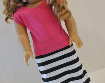 Black and White Striped Maxi Skirt  with Pink Short Sleeve T-shirt  made to fit American Girl  18 Inch Doll Clothes