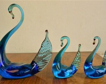 3 Vintage Murano Glass Swans handmade glass retro // Vivid blues