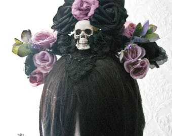 Day of the dead  skull headpiece-gothic headband-skull headpiece-headpiece-One of a kind-Ready to ship