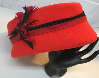 Orange and Black Vintage Women's Pillbox Hat