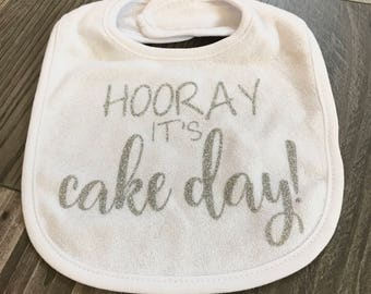 Hooray It's Cake Day, Birthday Bib, Cake Bib,