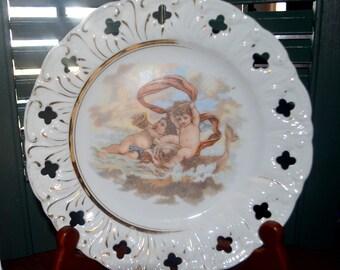 Vintage Cherub Angel Gold Trim Plate