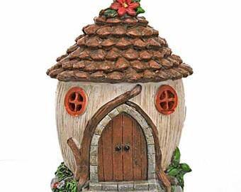 Solar Pine Cone Fairy House, Fairy Cottage, Fairy Dwelling,  Pine Cone Roof Fairy House, Fairy Garden Accessory, Illuminated Fairy House