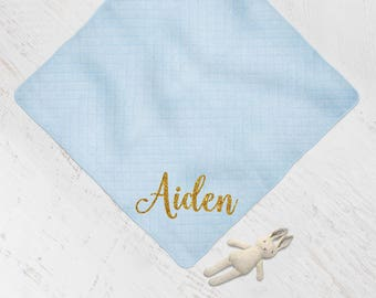 Personalized Baby Blanket Shower Gift Boy Blue and Gold Glitter, Custom Name Swaddle Newborn