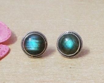 Natural BLUE FIRE LABRADORITE Gemstone Studded In Solid 925 Sterling Silver Earrings, Handmade Stud Earrings, February & March Birthstone
