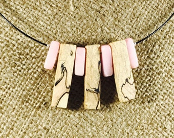 Handmade Spalted Maple Pink Stone Choker Necklace