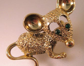 GERRY'S Mouse Pin Brooch Rhinestone 1960's Vintage Jewelry Vintage Pin Vintage Brooch
